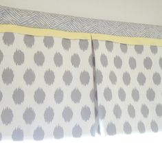 Custom nursery Gray and white with accent yellow Box Pleat valance. Available in other collections.