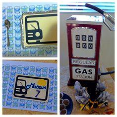 Festa carros - marmita personalizada e gás station - mesa de doces - carros antigos