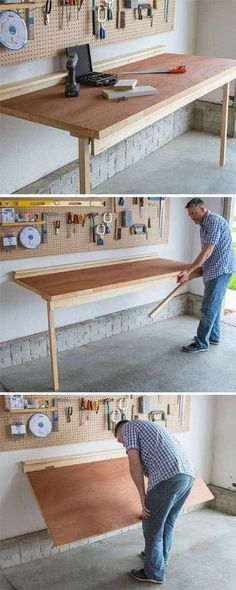 DIY Projects Your Garage Needs -DIY Folding Bench Work Table – Do It Yourself Garage Makeover Ideas Include Storage, Organization, Shelves, and Project Plans for Cool New Garage Decor diyjoy. Diy Projects Garage, Diy Projects For Men, Woodworking Projects Diy, Home Projects, Woodworking Plans, Woodworking Furniture, Popular Woodworking, Woodworking Shop, Woodworking Machinery