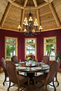 Cozy on a Grande Scale | A Lodge Style Log Retreat in Michigan Room for the Whole Family  Gorgeous Log Home  Dinning with a View