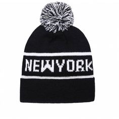 Ally Fashion Black - white new york logo pom pom beanie ($9.59) ❤ liked on Polyvore