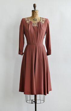 vintage 1950s Gloria Swanson dark rose pink dress