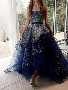 Elegant Ball Gown Navy Blue Strapless Prom Dresses Long Cheap Formal Dresses - - Elegant Ball Gown Navy Blue Strapless Long Cheap Tulle Prom Dresses – jolilis Source by Strapless Prom Dresses, Cute Prom Dresses, Elegant Prom Dresses, Tulle Prom Dress, Awesome Dresses, Wedding Dresses, Silver Prom Dresses, Dresses For Graduation, Navy Blue Quinceanera Dresses