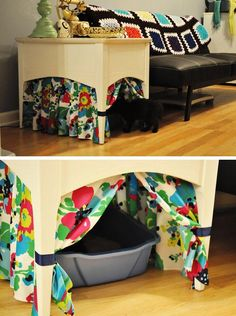 For anyone living in a small space, it's all about maximizing the functionality of every last bit of furniture! The empty space under a side table just needs a surrounding of punchy patterned fabrics to make it a perfect litter box cavern.   Photo:  Buzzfeed