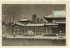HASUI Japanese Woodblock Print - Evening Snow at Hoodo, Byodoin Temple 1951
