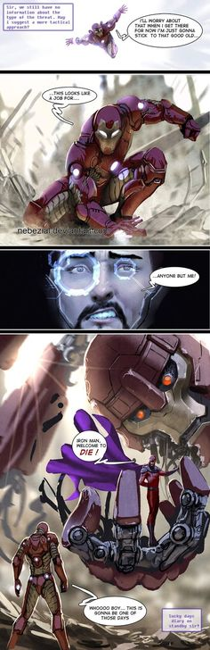 iron man's sucky day by nebezial on DeviantArt Marvel Heroes, Marvel Dc Comics, Marvel Characters, Marvel Avengers, Iron Man Tony Stark, Mein Liebling, Comic Movies, Comic Books Art, Comics Universe