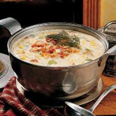 Hearty Corn Chowder (can substitute 2-3 cups shredded chicken for sausage)