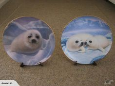 2 Limited Edition Franklin Mint Plates. Snow Pup and Happy Together