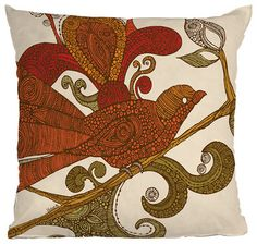 Adore the pattern....  DENY Designs Valentina Ramos The Orange Bird Throw Pillow - eclectic - pillows - Pure Home