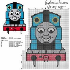Thomas train from Thomas and Friends cartoon tv series free small cross stitch pattern