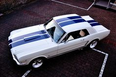 1965 Ford Mustang Coupe. I normally do not like white but I like the blue stripes.