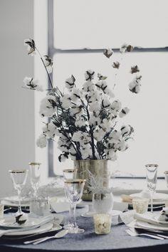 Centro de flores de algodón