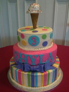 """Ice cream birthday cake with buttercream frosting, fondant accents and fondant covered cake ice cream """"scoop"""" with sprinkles.  Thanks for looking!"""