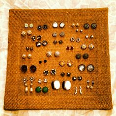 Stud earring organization using a stretched burlap frame from JoAnn Fabric store.