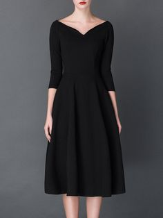 Vintage 3/4 Sleeve A-line Shirred V neck Midi Dress - StyleWe.com