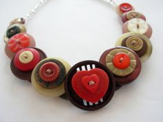 Button Necklace Choker Style Brown Red and Cream