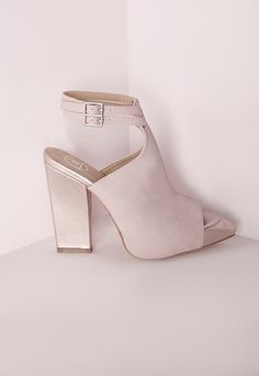 MissGuided Metallic Strappy Block Heels Pink | $60.00 NOW $20.00 | Available Sizes: 9 | #Chic Only #Glamour Always