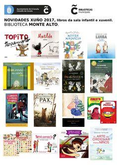 Novas lecturas da sala infantil e xuvenil do mes de xuño na biblioteca Monte Alto.
