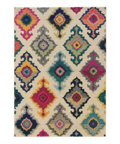 Look at this Ivory Floral Diamond Spectrum Rug on #zulily today!