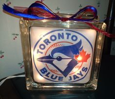 Toronto Blue Jays lighted glass block.  One of my lighted glass blocks! Check out my store on Etsy called IrwinRags!