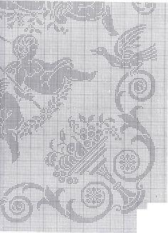 Gallery.ru / Фото #103 - a - uni4ka Cross Stitch Angels, Filet Crochet, Cherub, Cross Stitch Embroidery, Black And White, Jewellery, Cortinas Crochet, Handmade Crafts, Crochet Curtains