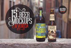 15 Beer Mockups in Venecia by Pere Esquerrà on @creativemarket