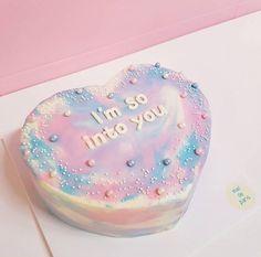 blue, cake, and pastel afbeelding Pretty Cakes, Cute Cakes, Korean Cake, Aesthetic Food, Love Cake, Cute Food, Cake Art, Let Them Eat Cake, Cake Designs