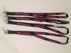 Black lanyards with Neon Pink I Love Volleyball. Great gift for the whole team.