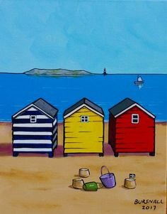 Island Light Acrylic painting by Paul Bursnall Beach Huts Art, Beach Art, Acrylic Painting Canvas, Canvas Art, Seaside Art, Paintings I Love, Naive Art, Whimsical Art, Watercolor Paintings