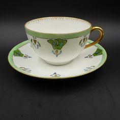 Art Deco T&V Limoges Tea Cup Saucer Hand Painted Porcelain Gold France 1920s Vtg #ArtDeco #TV