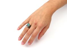 Wide silver ring with Boulder opal