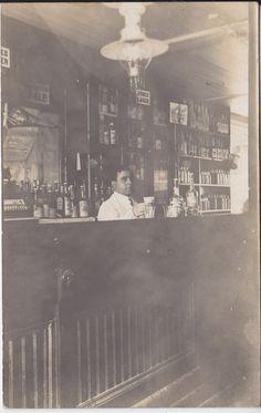 RPPC Vintage Bar Interior Bartender CA early 1900's