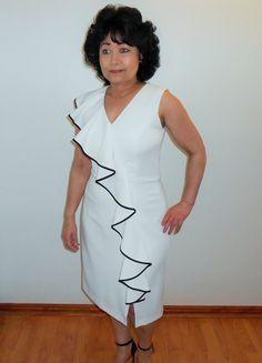 A white sleeveless dress with asymmetrical flounce and side slit. Great for all summer occasions. White Sleeveless Dress, White Dress, Different Necklines, Designer Dresses, Cold Shoulder Dress, Summer Dresses, Spring, Coat, Blog