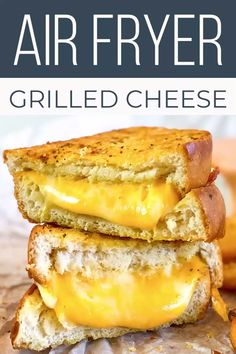 Crispy, crunchy bread, with ooey, gooey cheese - that's the sign of a perfect grilled cheese recipe. One bite of this unbelievably good grilled cheese air fryer recipe, and I know you're going to love it. Air Fryer Recipes Videos, Air Fryer Oven Recipes, Air Frier Recipes, Air Fryer Dinner Recipes, Easy Dinner Recipes, Convection Oven Recipes, Dessert Recipes, Perfect Grilled Cheese, Making Grilled Cheese