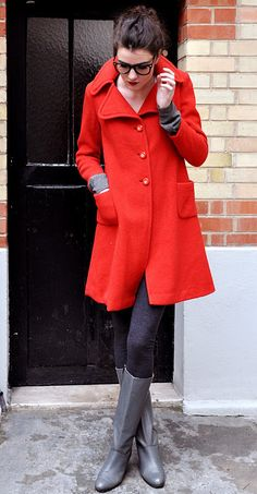 Love this outfit. Yay for red winter coats, with leggings and boots!