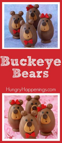 You may think these Buckeye Bears are too cute to eat, but you wont be able to resist their peanut butter fudge filled chocolate bellies, caramel snouts, and chocolate chip noses. They make the sweetest treats for Valentine's Day.