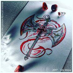Oshé Shango: double-headed ax of the Orisha of thunder and justice. By Ubi Maya, Brazil. Shango Orisha, Axe Tattoo, Cool Tattoos, Tatoos, African Symbols, Pencil Art Drawings, Future Tattoos, Face Art, African Art