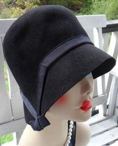 Vintage 1950s Lilly Dache Black Fur Felt Cloche Bucket Dachettes Dress Hat Flapper #Cloche