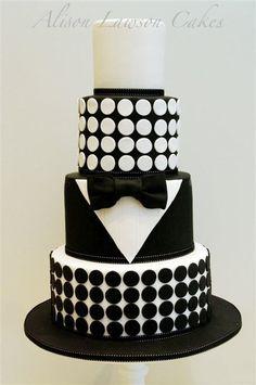 Black and white cake. # wedding, # cakes for men Fondant Cakes, Cupcake Cakes, Cupcakes, Beautiful Cakes, Amazing Cakes, Black White Cakes, Black Gold, Black Tie, Tuxedo Cake