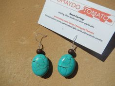 Wood and Turquoise Bead Earrings via Etsy http://www.etsy.com/listing/127794833/wood-and-turquoise-bead-earrings?ref=teams_post