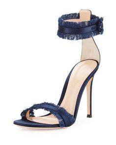 Gianvito Rossi Fringed Silk Sandal In Blue Navy Sandals, Shoe Closet, Luxury Fashion, Bergdorf Goodman, Silk, Designer Clothing, Shopping, Shoes, Blue