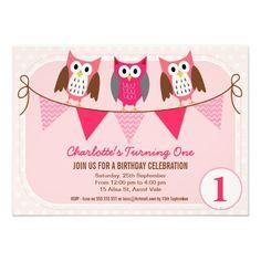Girls Owls Birthday Party Invitation