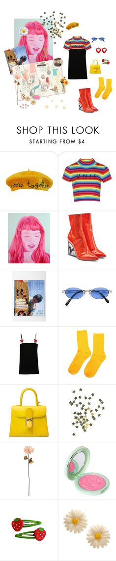 """Neon Baby"" by nattindira ❤ liked on Polyvore featuring Cynthia Rowley, Topshop, Puma, Jean-Paul Gaultier, Delvaux, Shabby Chic, Paul & Joe and TheBalm"
