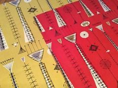 David Parsons Kite Strings 1956 Vintage Heals Fabric TWO Pieces RED Yellow | eBay
