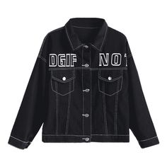 Letter Graphic Denim Jacket ($21) ❤ liked on Polyvore featuring outerwear, jackets, zaful, denim jacket, letter jacket and jean jacket