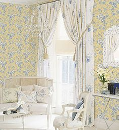 Traditional toile wallpaper #yellow #blue #french