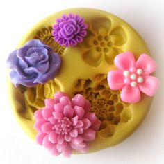 Cabochon Flower Mold Resin Polymer Clay Moulds by WhysperFairy, $8.95