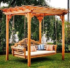 Enhance your outdoor space with this cedar swing bed and pergola! Imagine swinging away in a comfortable breeze or reading in a shaded escape. Youll definitely enjoy many years of entertaining and relaxing in this beautiful swing bed and pergola. Backyard Swings, Pergola Swing, Large Backyard, Outdoor Pergola, Backyard Pergola, Backyard Landscaping, Outdoor Decor, Backyard Ideas, Garden Swings