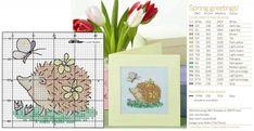 вышивка крестиком, схема, ежик с бабочкой, открытка с вышивкой
