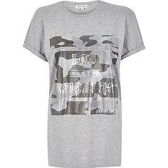 Grey foil print longline t-shirt - print t-shirts / vests - t shirts / vests - women